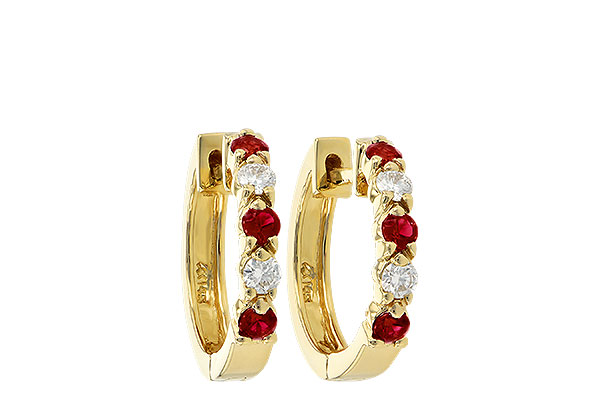 L056-03295: EARRINGS .33 RUBY .52 TGW